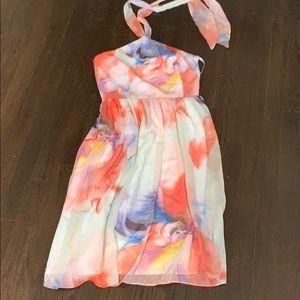 White House Black Market Dresses - WHBM Halter Chiffon Floral Dress Sz 4